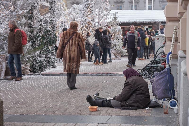 Advent Market a Zagabria fotografia stock libera da diritti