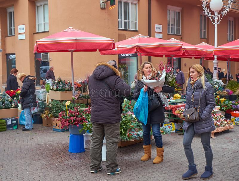 Advent Market in Zagreb-Eigenschaft stockfoto