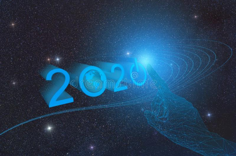 The advent of the new technological year 2020 on the planet Earth in outer space, conceptual representation of pressing the button vector illustration