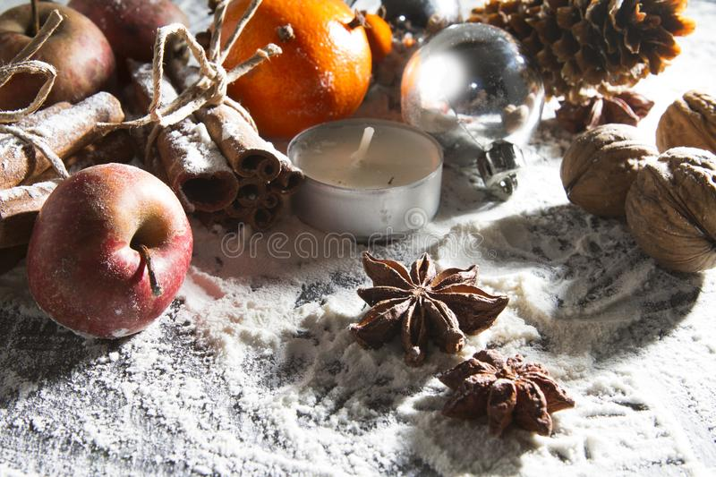 RUSTIC HOMEMADE ADVENT DECORATION. MERRY CHRISTMAS ORNAMENTS BACKGROUND royalty free stock photos