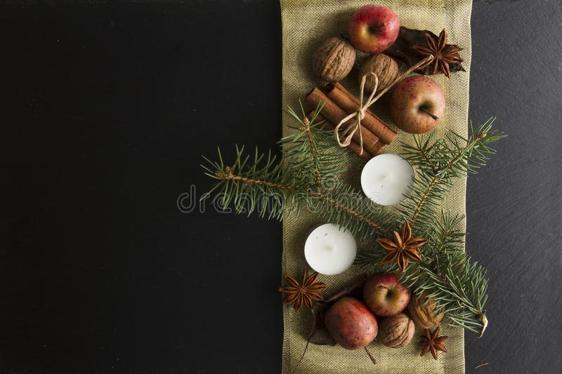 OVERHEAD RUSTIC HOMEMADE ADVENT DECORATION. MERRY CHRISTMAS ORNAMENTS BACKGROUND stock image