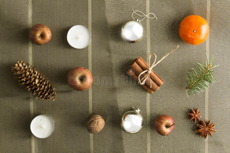 OVERHEAD RUSTIC HOMEMADE ADVENT DECORATION. MERRY CHRISTMAS ORNAMENTS BACKGROUND stock photo