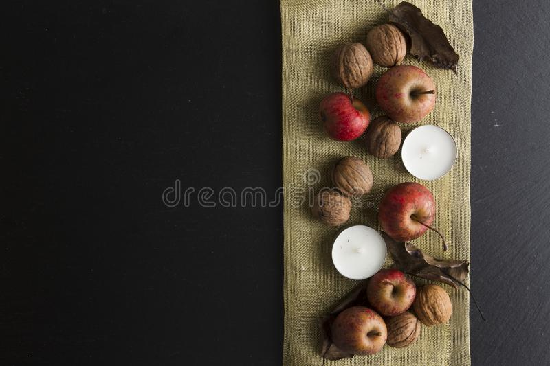 RUSTIC ADVENT DECORATION. MERRY CHRISTMAS ORNAMENTS BACKGROUND stock photos