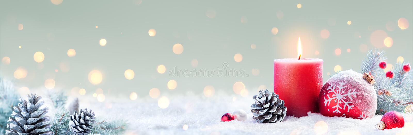 Advent - Red Candle And Christmas Decoration royalty free stock photo