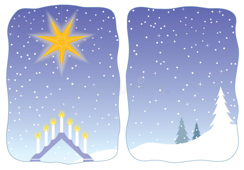 Download Advent Star Decorating A Snowy Window Stock Illustration - Image: 12040449