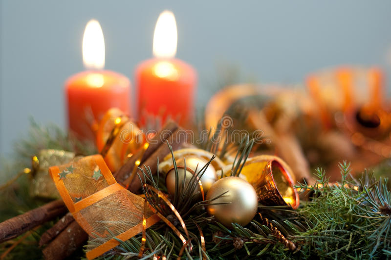 Advent still life. With candles and cinnamon stock photography