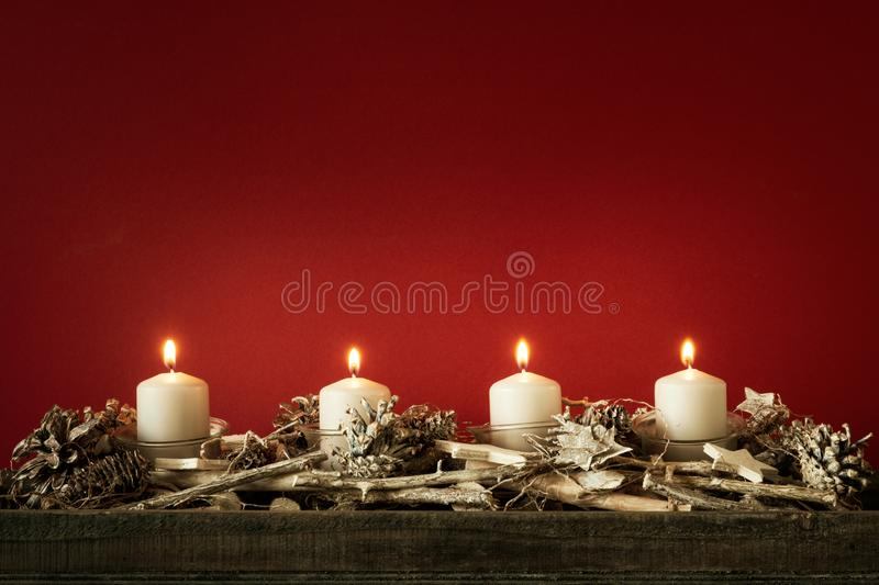 Advent time four candles burning royalty free stock images