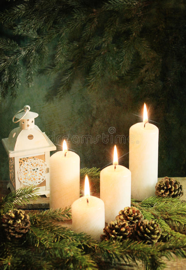 Advent time. Still life with Advent candles royalty free stock images
