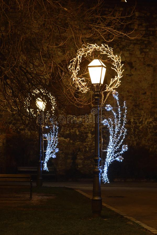 Advent in Zagreb, Croatia, Street lights with Christmas decoration in front of Zagreb cathedral stock photography