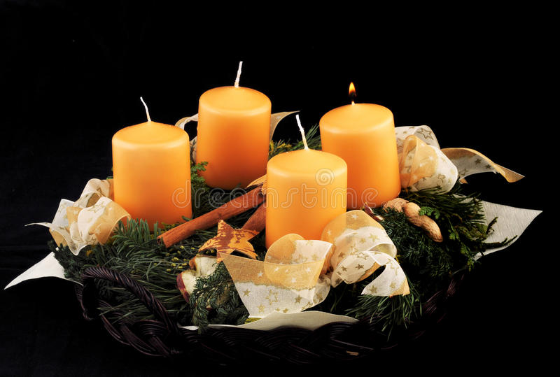 Advent wreath. With yellow candles stock photography