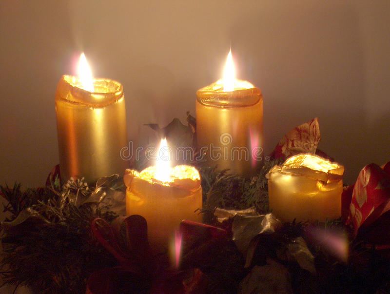Advent wreath. With all 4 candles burning royalty free stock image