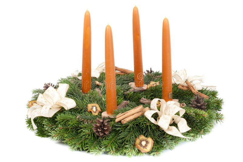 Advent wreath. On white stock photos