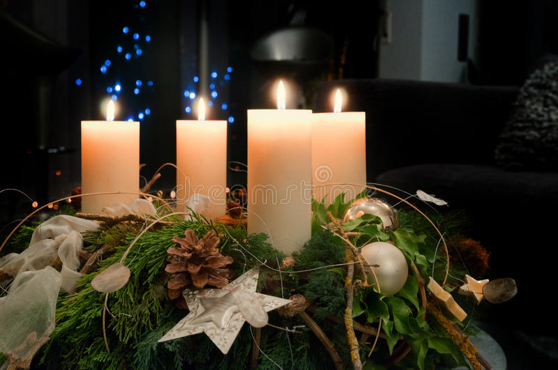 Advent Wreath. Beautiful Christmas Advent Wreath with lighted candles