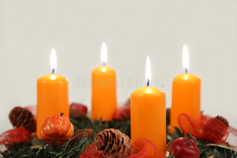 Advent wreath. With four candles close-up stock photo