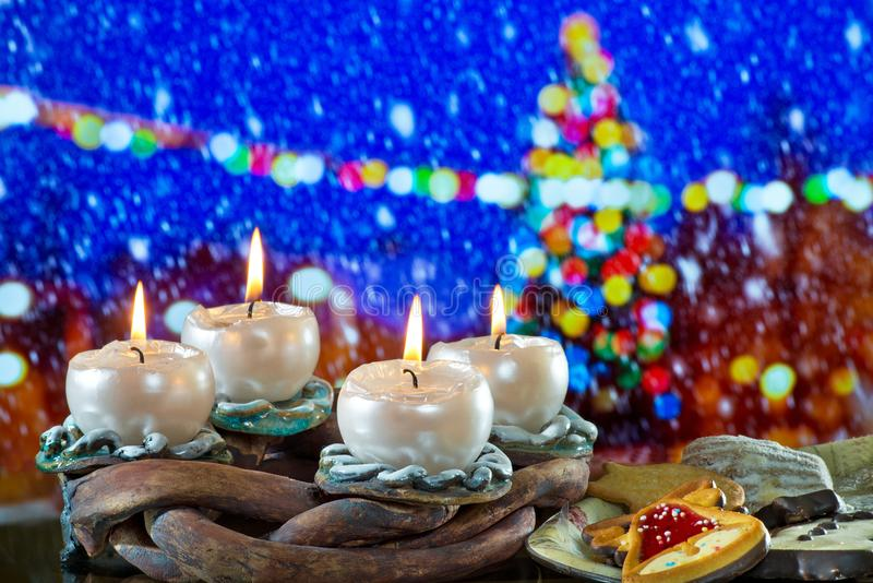 Advent Wreath with Burning Candles royalty free stock image