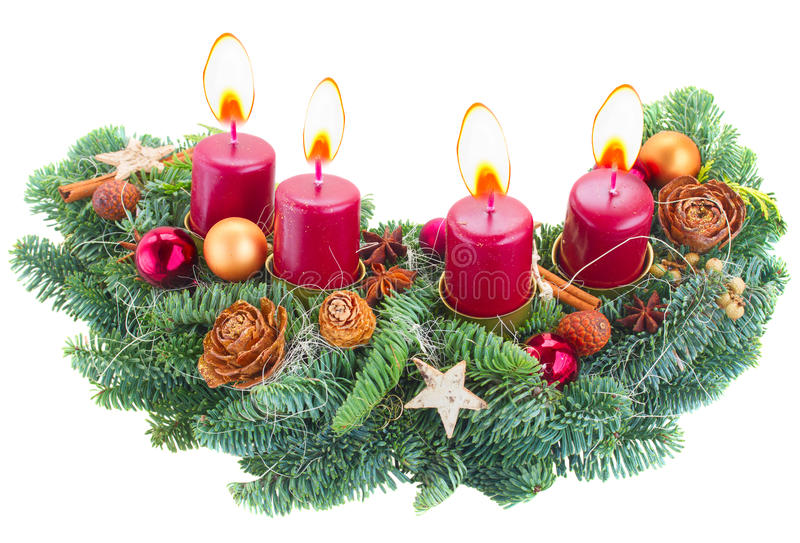 Advent wreath with burning candles stock photos