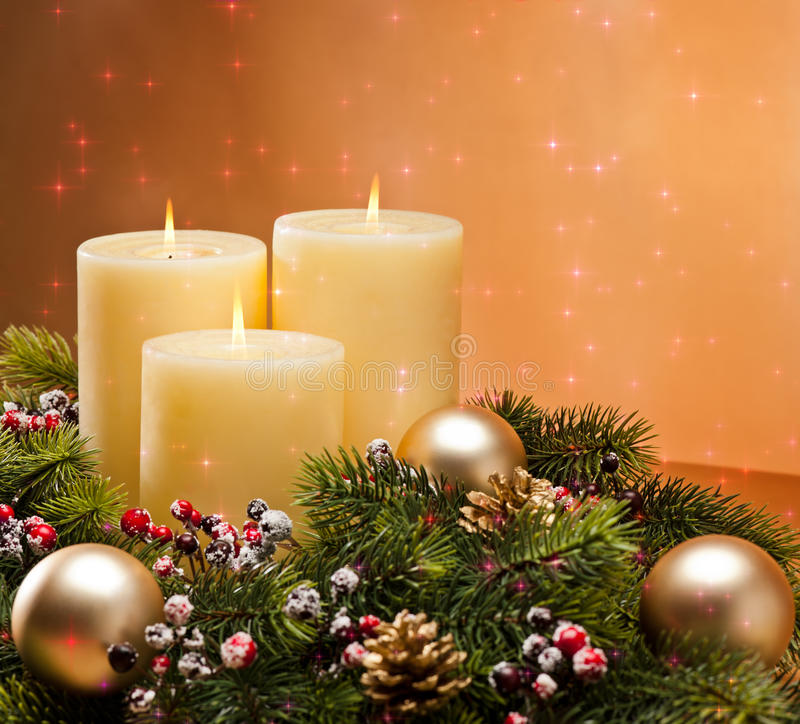 Advent wreath. With burning candles for the pre Christmas time royalty free stock photo