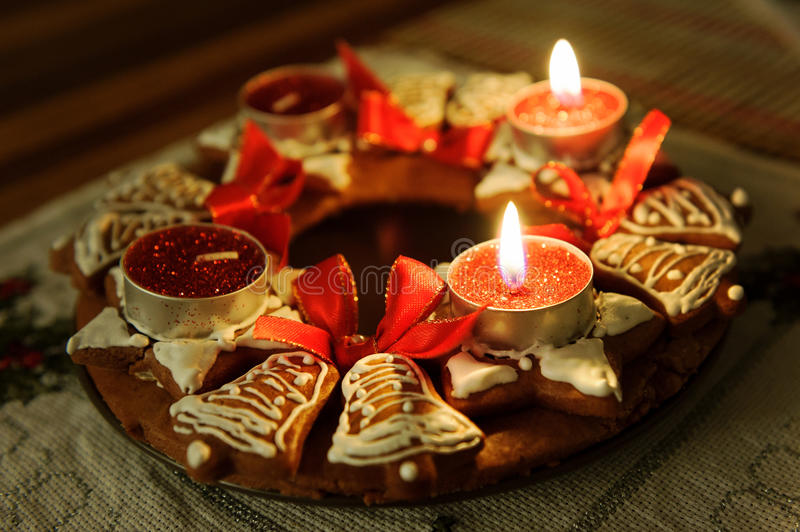Advent wreath with candles in flame royalty free stock photo
