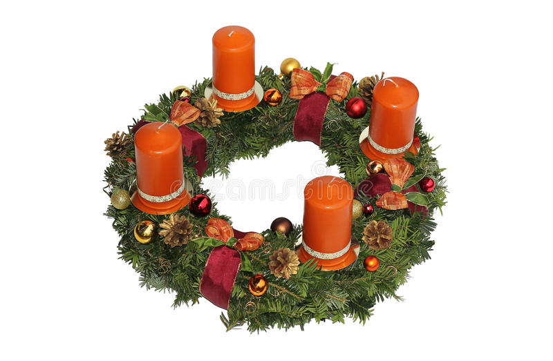 Advent wreath with cinnamon candles, golden cones and ribbon. Handmade advent wreath with cinnamon candles, golden cones and ribbon, isolated on white stock image