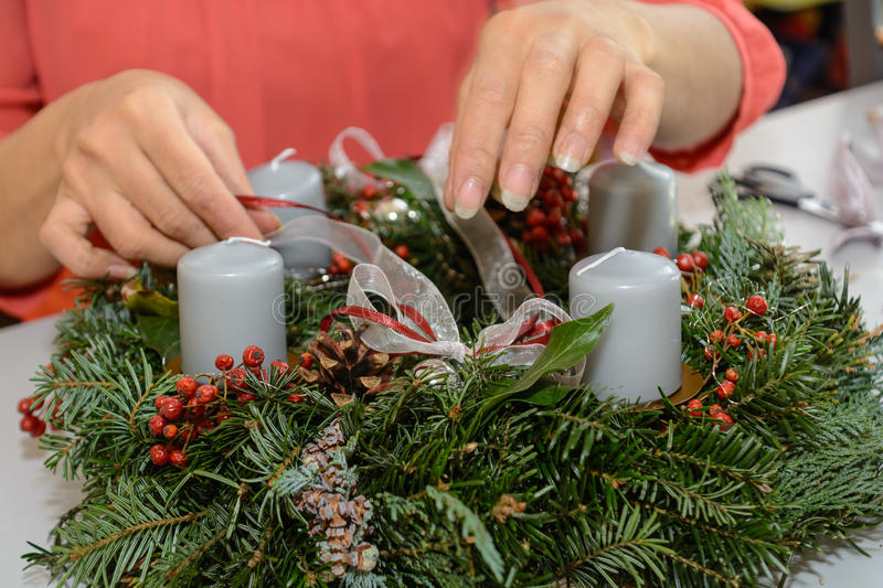 Advent wreath decor - close-up stock photography