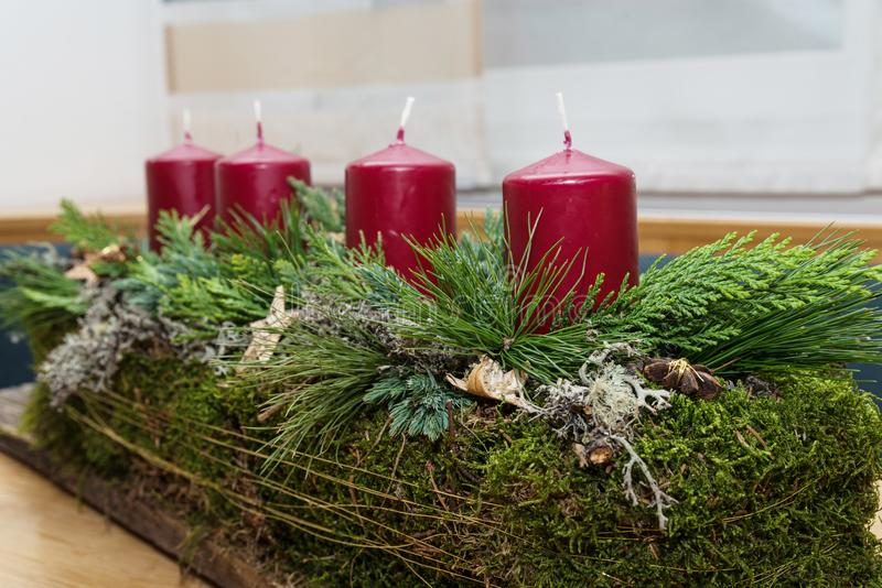 Advent wreath elongated and rustic stock photos