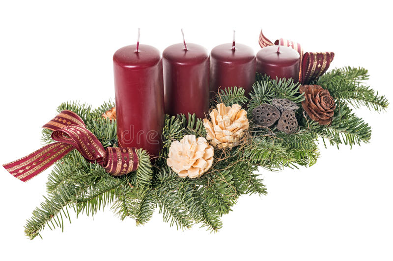 Advent wreath. With green branches royalty free stock photography