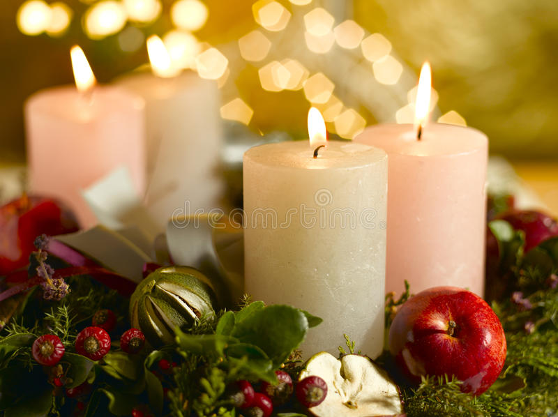 Advent wreath with lighted candles stock photography