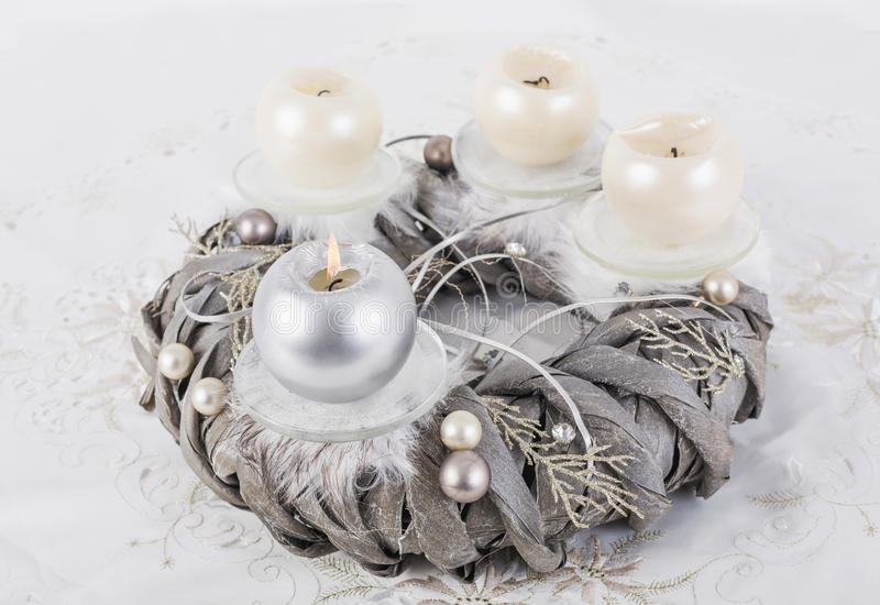 Advent wreath with metallic candles. Silver advent wreath with 4 metallic candles royalty free stock photo