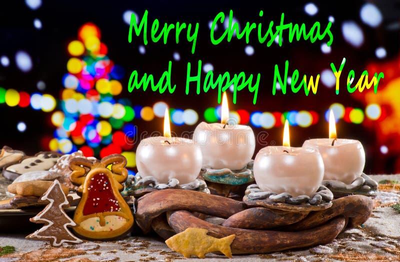 Advent Wreath mit Text frohen Weihnachten stockfotografie