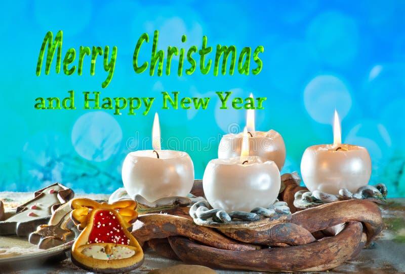 Advent Wreath mit Text frohen Weihnachten stockfotos