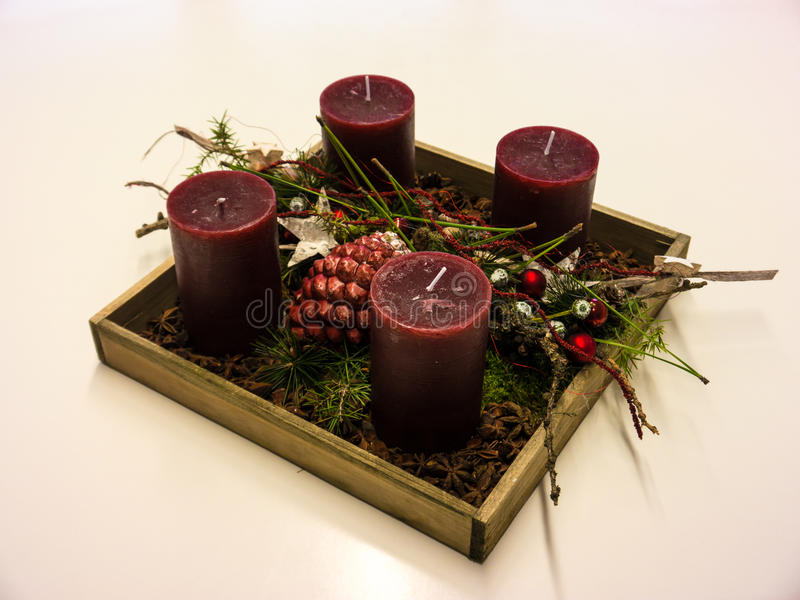 Advent Wreath. Nicely decorated advent wreath with red candles stock image