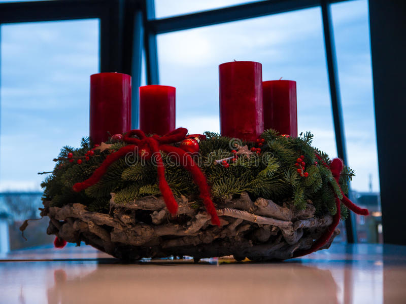 Advent Wreath. Nicely decorated advent wreath with red candles royalty free stock images