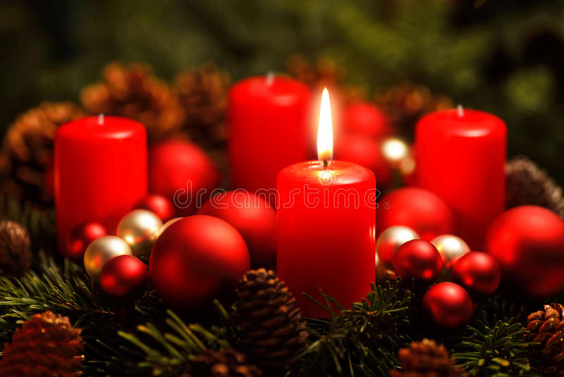 Advent wreath with one burning candle stock photography