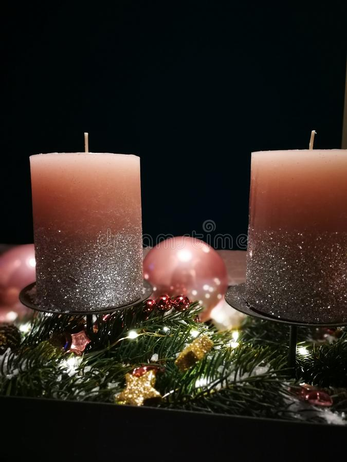 Advent wreath with pink candles and christmas bubbles stock photography