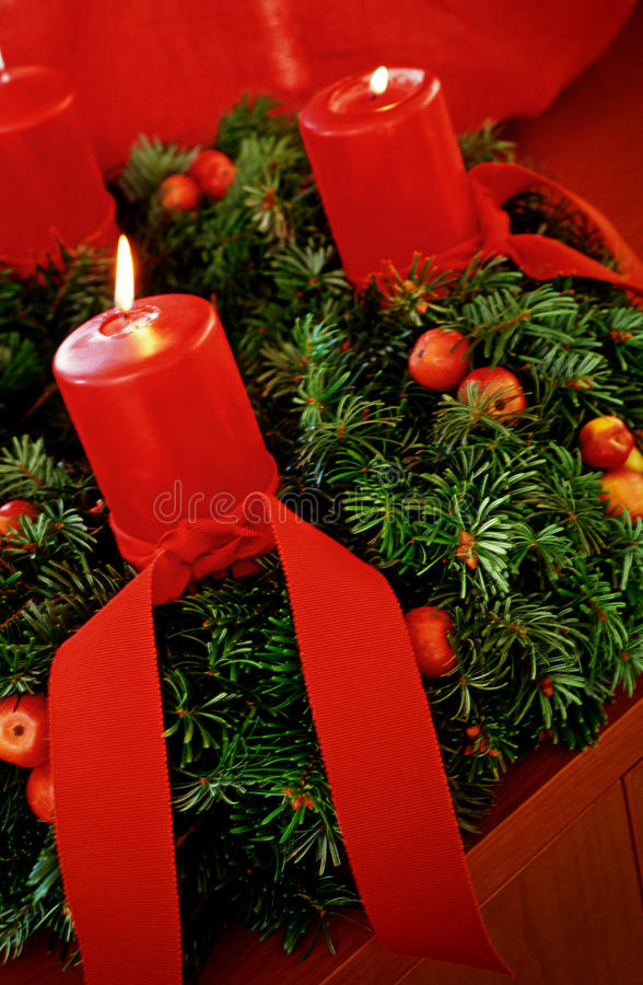 Advent wreath. With red candles royalty free stock images