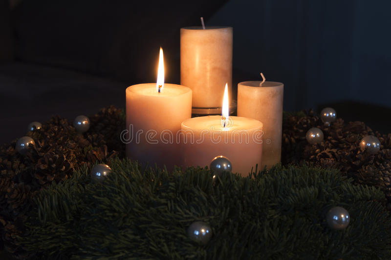 Advent wreath with two burning candles royalty free stock photography