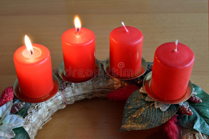 Advent wreath with two burning candles stock image