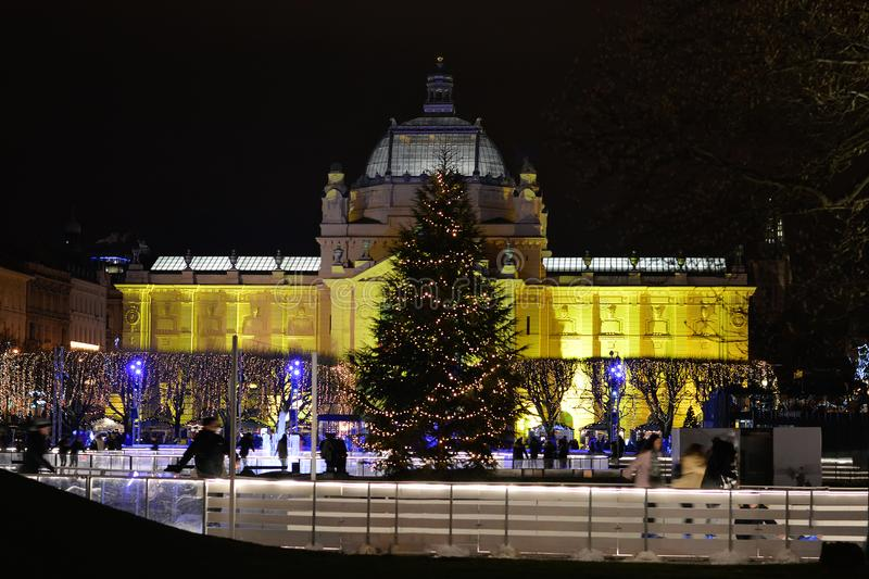 Advent in Zagreb, Croatia, Ice park and Christmas decoration stock images
