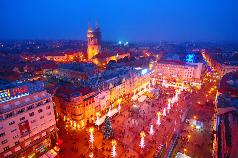 Advent In Zagreb, Croatia. Night view of cathedral and Ban Jelačić Square with Christmas decoration in Zagreb, Croatia stock photo
