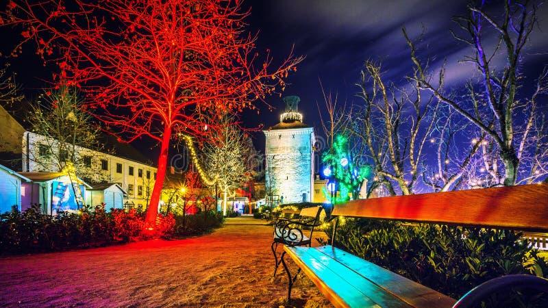 Advent Zagreb Gric-Kerstmislichten van torenkroatië royalty-vrije stock afbeeldingen