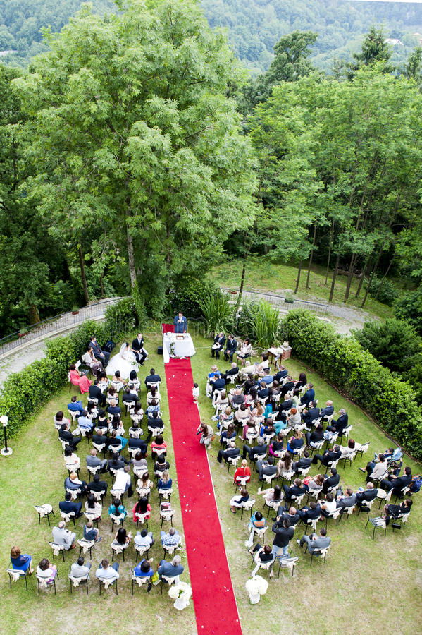 Adventist outdoor wedding. Adventist wedding in the castle of Tercesi royalty free stock photo