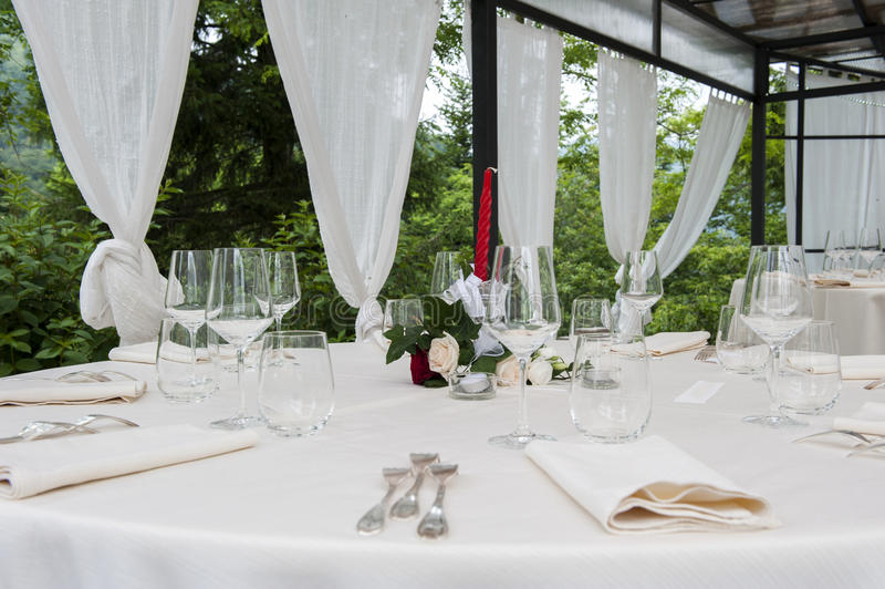 Adventist outdoor wedding. Adventist wedding in the castle of Tercesi royalty free stock photos