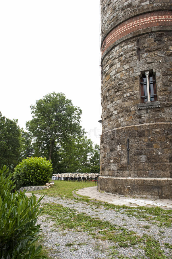 Adventist outdoor wedding. Adventist wedding in the castle of Tercesi royalty free stock photography