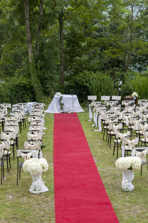 Adventist outdoor wedding. Adventist wedding in the castle of Tercesi royalty free stock image