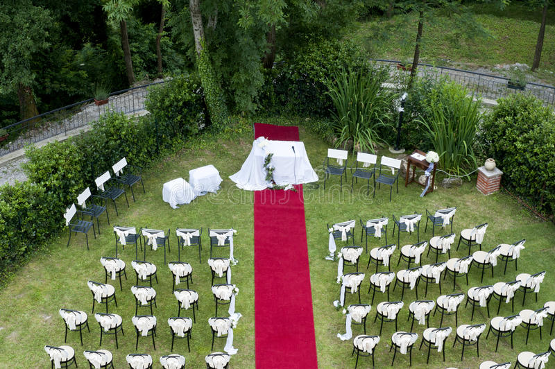 Adventist outdoor wedding. Adventist wedding in the castle of Tercesi stock images