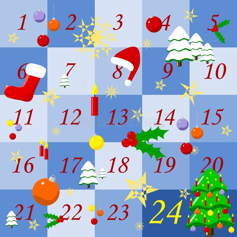 adventkalender royaltyfri illustrationer