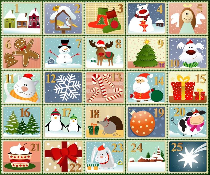 Adventkalenderstämplar royaltyfri illustrationer