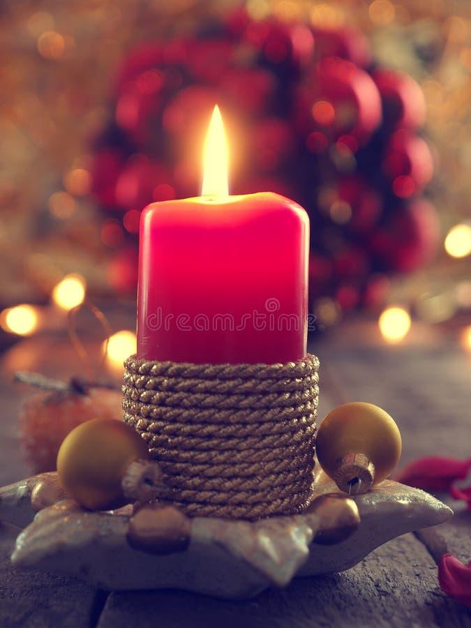 Adventstearinljus, julbegreppsbakgrund royaltyfri fotografi