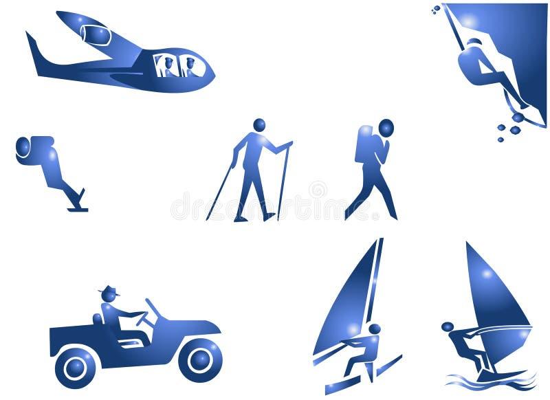 adventure символ спорта иконы иллюстрация вектора
