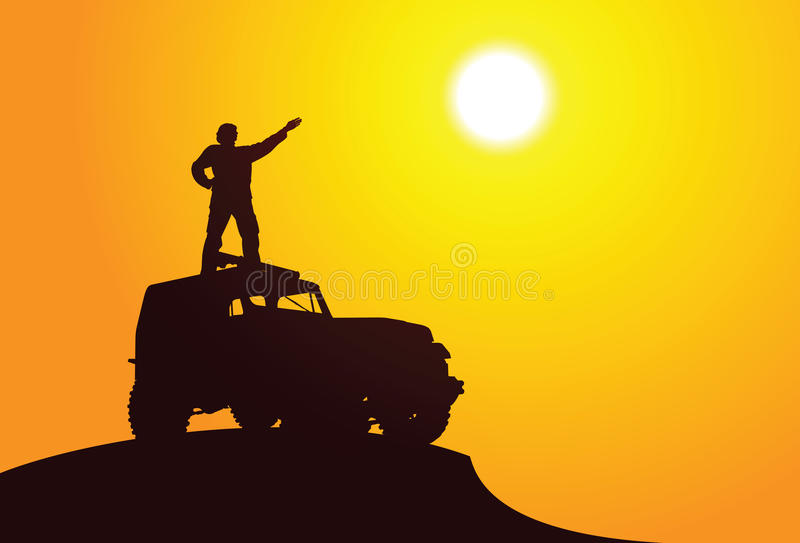 Adventure. Vector silhouette of a man on the car